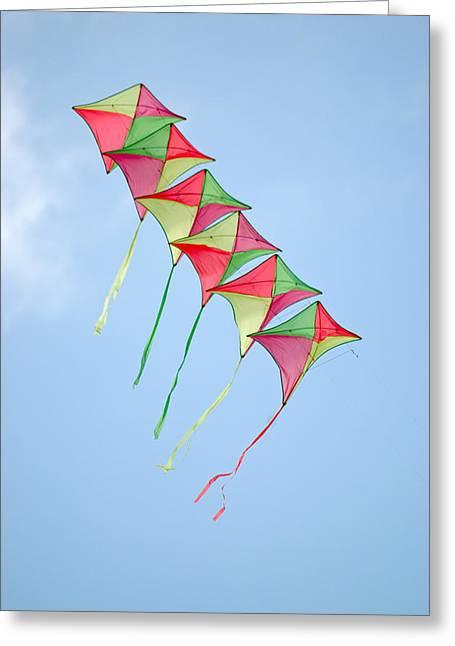 Kite Chain Greeting Card by Rob Huntley