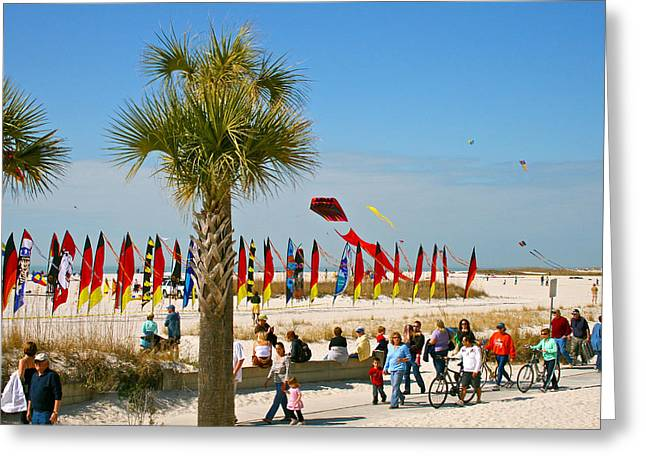 Kite Day At St. Pete Beach Greeting Card by Greg Joens