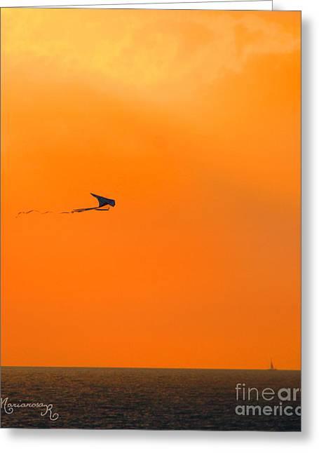 Kite-flying At Sunset Greeting Card by Mariarosa Rockefeller