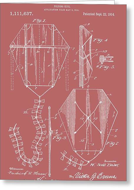 Kite Patent On Red Greeting Card