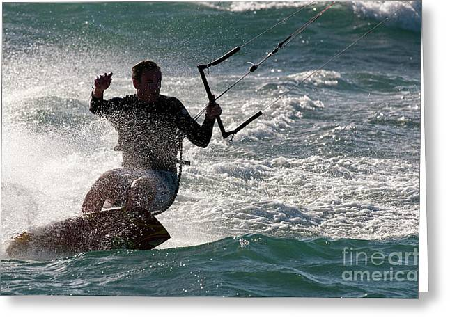 Kite Surfer 01 Greeting Card by Rick Piper Photography