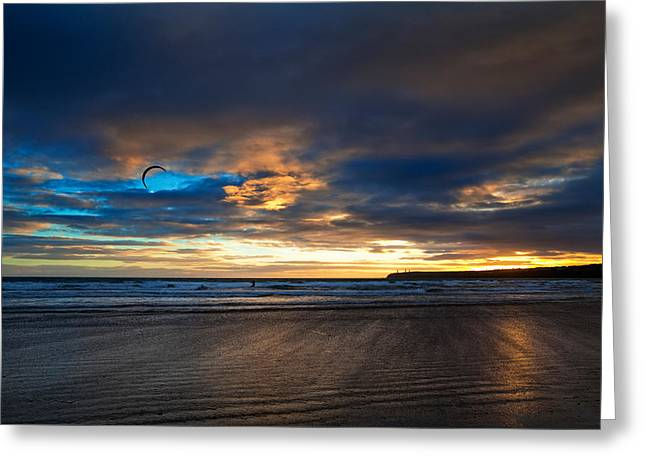 Kite Surfers On Tramore Beach Greeting Card