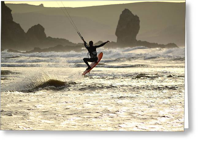 Kite Surfing Bigbury-on-sea Greeting Card by PhotoMan Bryan WB