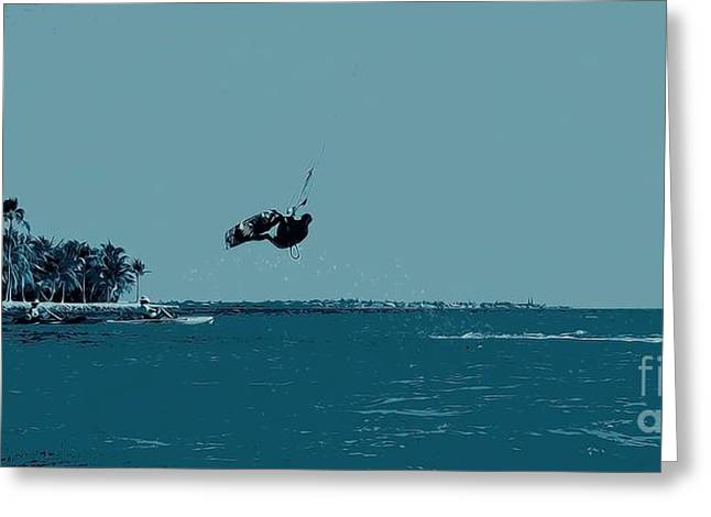 Kite Surfing In The Keys Greeting Card by Pamela Blizzard