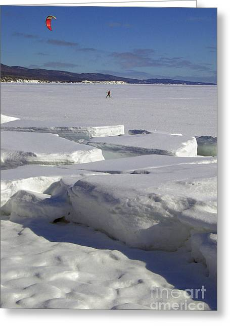 Kite Surfing On Ice Greeting Card by Colin Woods