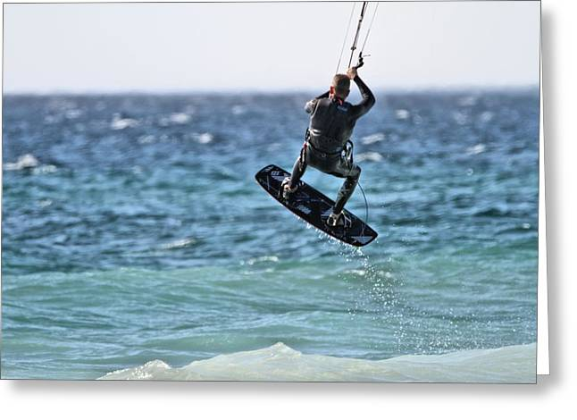 Kite Surfing Take Off Greeting Card by Dan Sproul