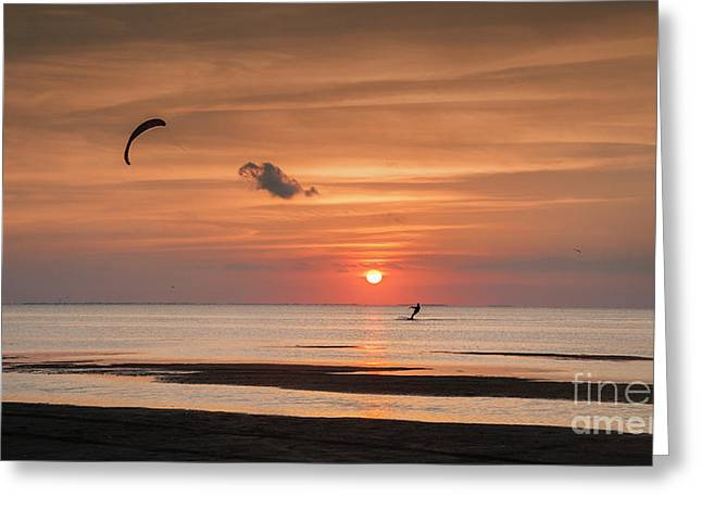 Kiteboarding At Sunset Greeting Card by Tammy Smith
