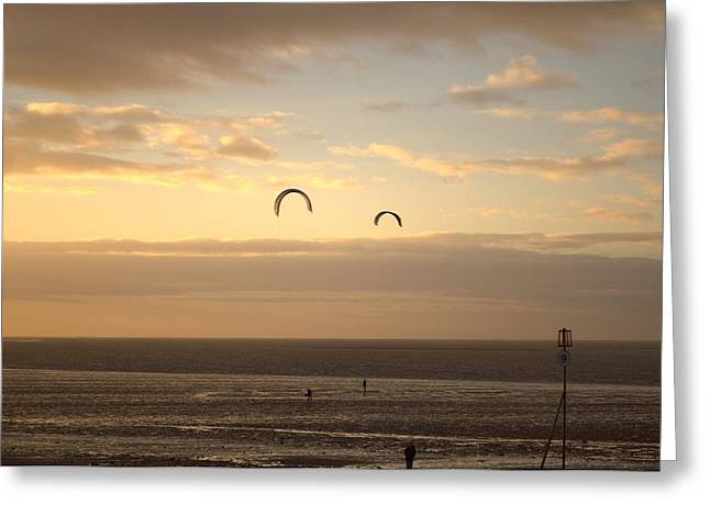 Kites At Sunset Greeting Card by Dave Woodbridge