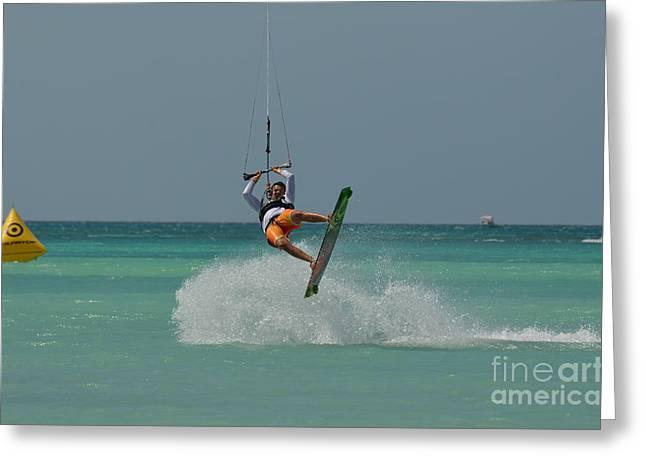 Kitesurfer Making The Turn Greeting Card by DejaVu Designs