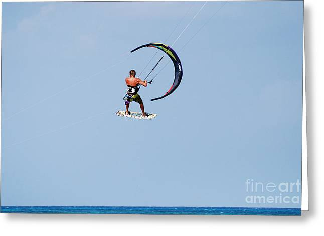 Kitesurfer Sailing Through The Sky Greeting Card