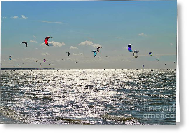 Kitesurfers In Zeeland Netherlands Greeting Card by Maja Sokolowska