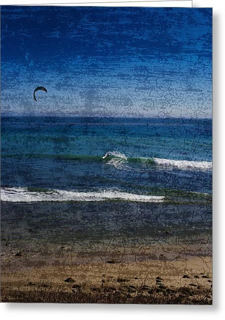 Kitesurfing At California Greeting Card by Carlos Cano