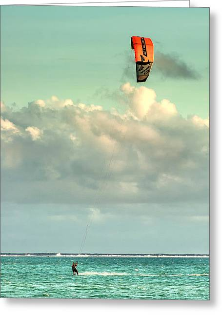 Kitesurfing In Bora Bora Greeting Card by Gary Slawsky