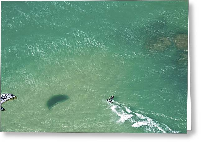 Kitesurfing, Tel Aviv Greeting Card by Ofir Ben Tov