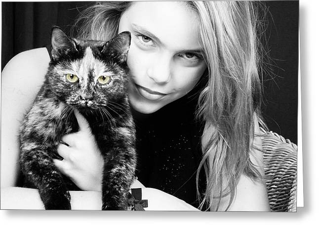 Greeting Card featuring the photograph Kitten Eyes by Stwayne Keubrick