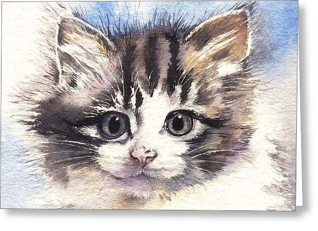 Kitten Lily Greeting Card by Sandra Phryce-Jones