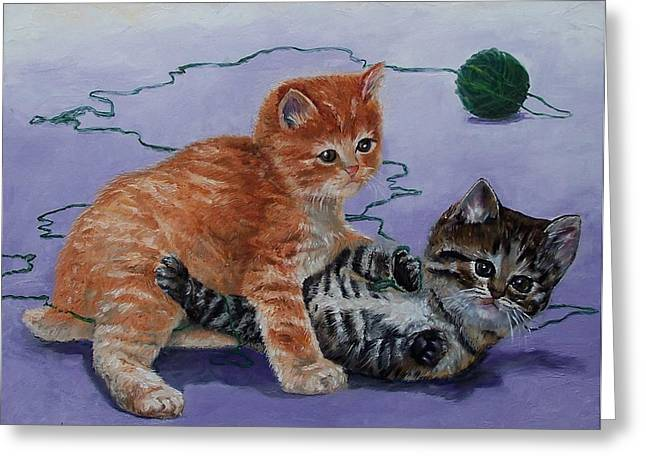 Kittens At Play Greeting Card by Donna Munsch