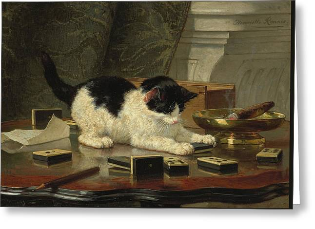 Kittens Game Greeting Card by Henriette Ronner-Knip
