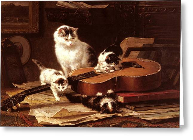Kittens Playing With A Guitar Greeting Card by Henriette Ronner Knip
