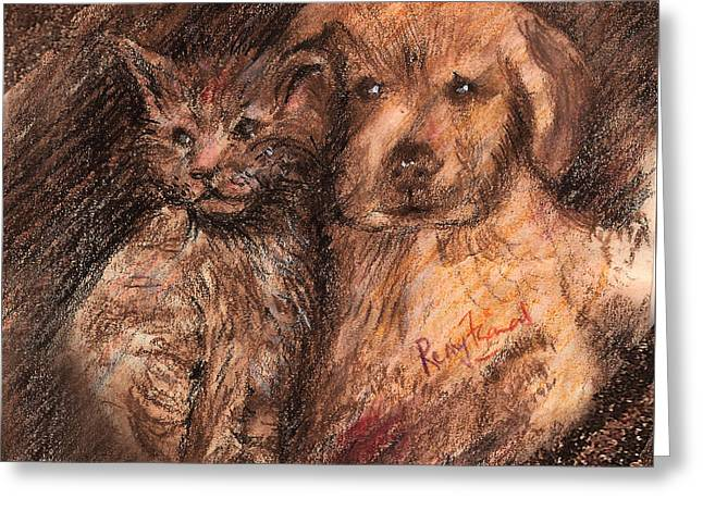 Kitten And Golden Retriever Pup Greeting Card by Remy Francis