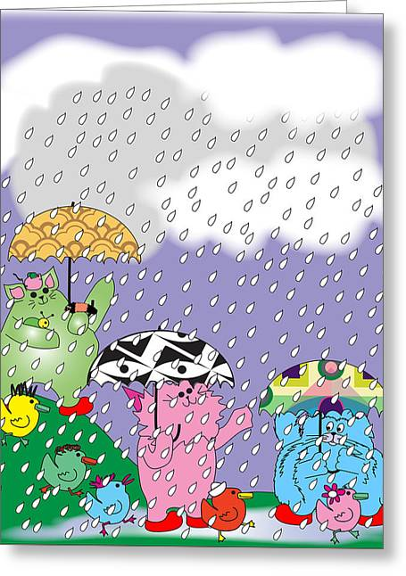 Kitties And Ducks In The Rain Greeting Card by Chris Morningforest