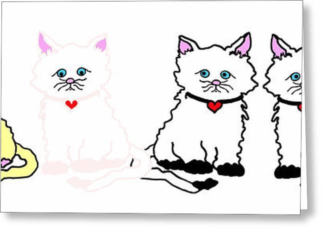 Kitties In A Row Greeting Card