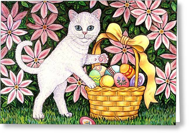 Kitten And Easter Basket Greeting Card