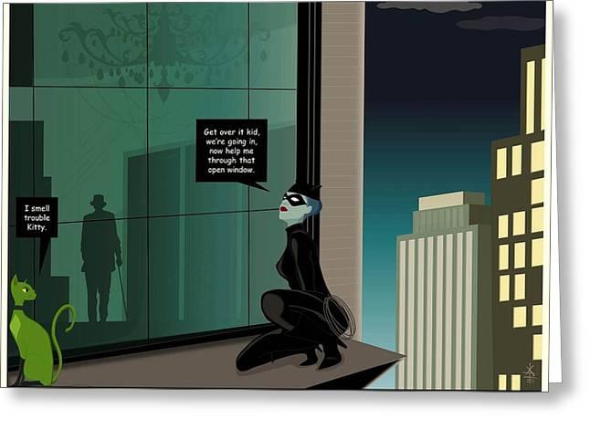 Kitty And Spy Panel 4 Greeting Card by Kate Paulos