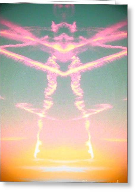 Greeting Card featuring the photograph Kitty Cat Contrail Ballerina by Karen Newell