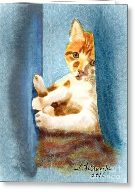 Kitty In A Corner Greeting Card