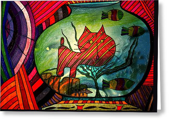 Kitty In A Fish Bowl - Abstract Cat Greeting Card