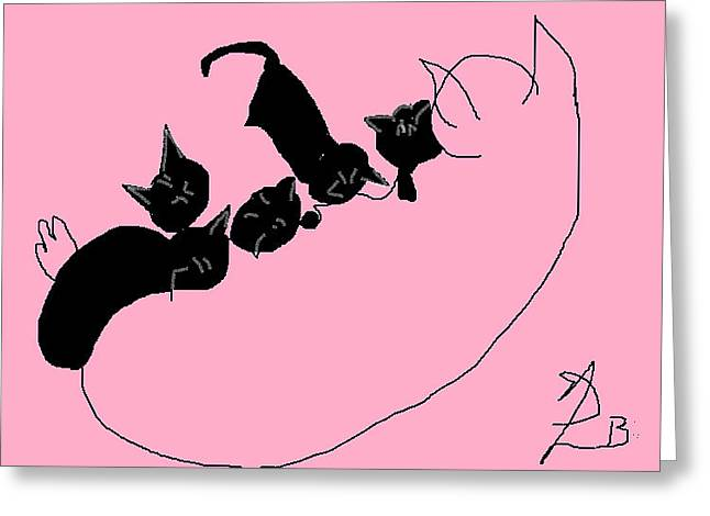 Kitty Litter  Greeting Card by Anita Dale Livaditis