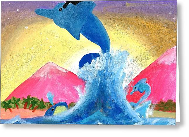 Kitty On A Dolphin Greeting Card by Artists With Autism Inc