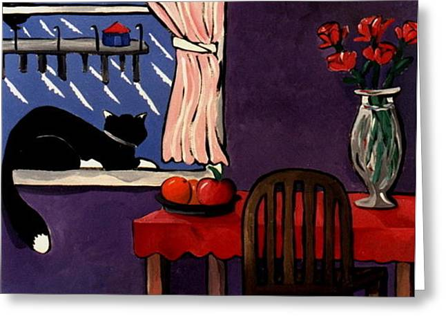 Kitty Over Manhattan Greeting Card by Lance Headlee