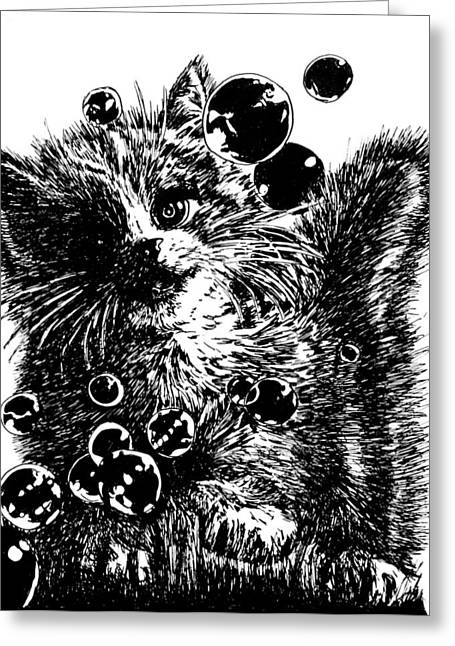 Kitty Greeting Card by Shabnam Nassir