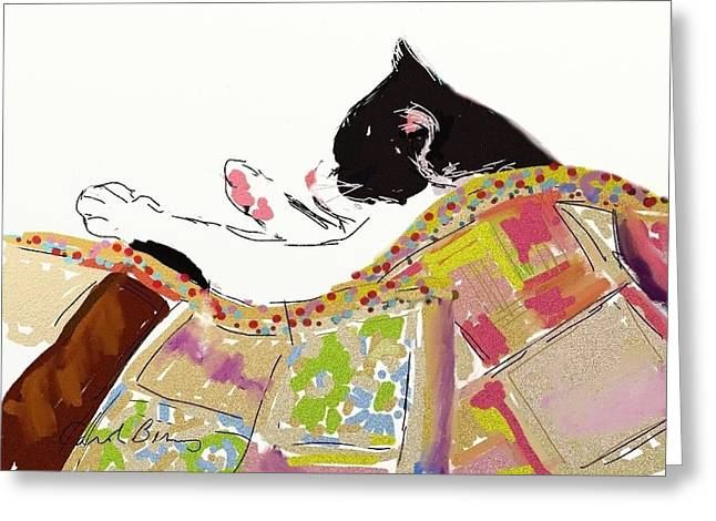 Kitty Sleeping Under Quilt Greeting Card
