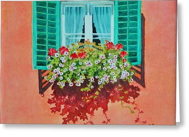 Kitzbuhel Window Greeting Card by Mary Ellen Mueller Legault