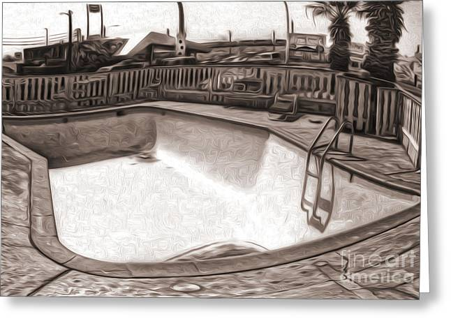 Kiva Motel -  Empty Pool Greeting Card by Gregory Dyer