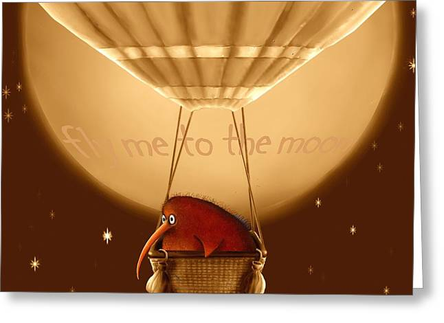 Kiwi Bird Kev - Fly Me To The Moon - Sepia Greeting Card