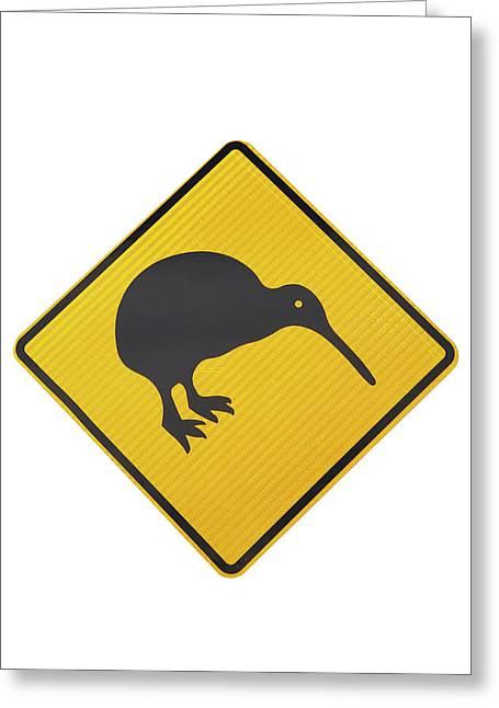 Kiwi Warning Sign, New Zealand Greeting Card