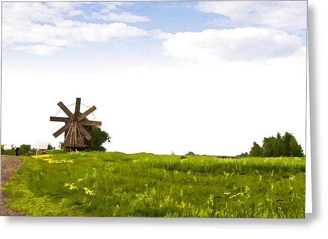 Kizhi Island Windmill Russia Greeting Card by Glen Glancy