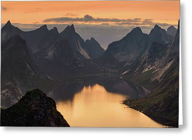 Kjerkfjorden Among Dramatic Mountain Greeting Card
