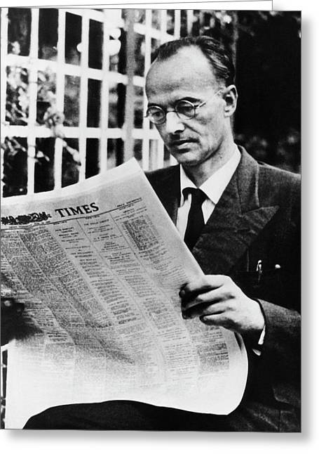 Klaus Fuchs Greeting Card by Emilio Segre Visual Archives/american Institute Of Physics
