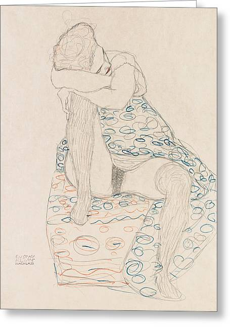 Klimt Seated Figure, 1910 Greeting Card by Granger