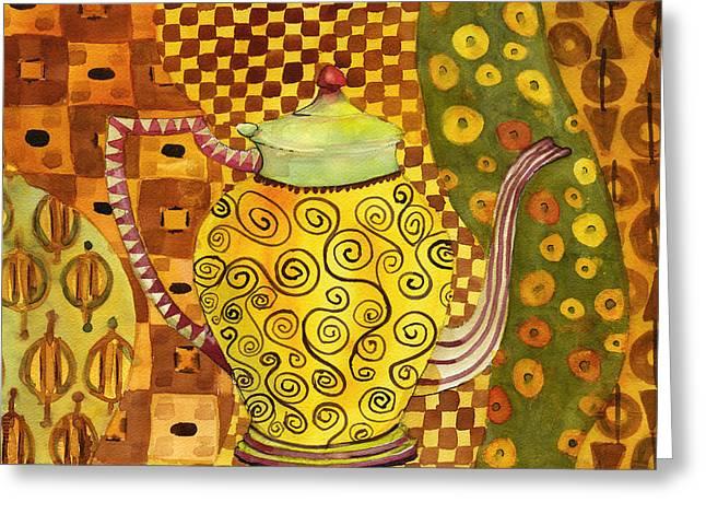 Klimt Style Teapot Blenda Studio Greeting Card