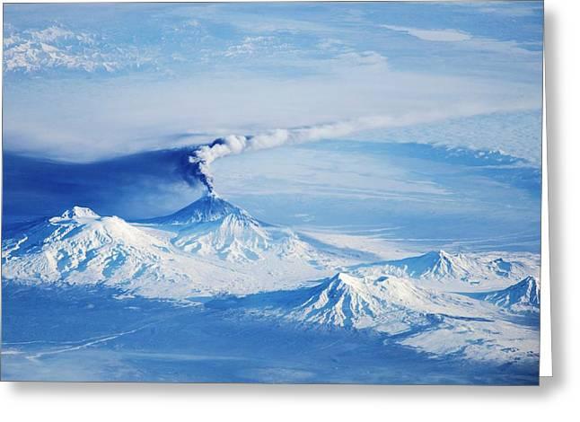 Kliuchevskoi Eruption Greeting Card by Nasa