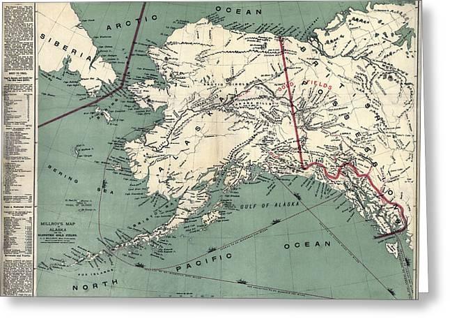 Prospector Survival Map Of Klondyke  1897 Greeting Card