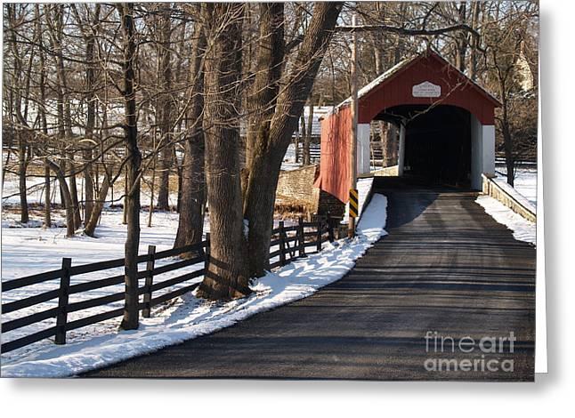 Knecht's Bridge On Snowy Day - Bucks County Greeting Card by Anna Lisa Yoder