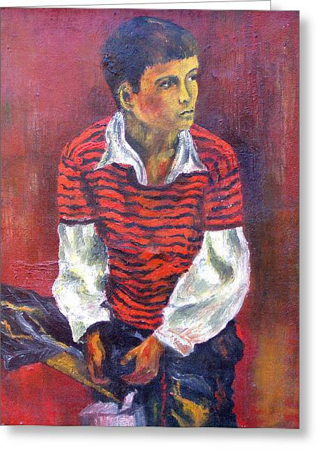 Greeting Card featuring the painting Kneeling Boy by Walter Fahmy