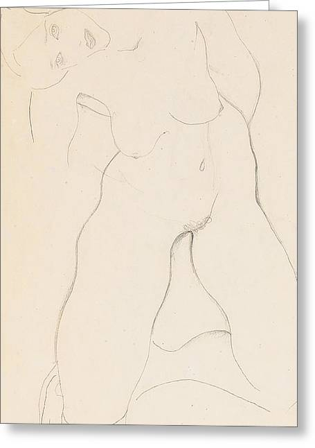 Kneeling Female Nude Greeting Card by Egon Schiele